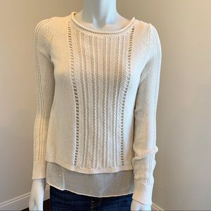 Lucky Brand | Cream & Gold Split Back Sweater